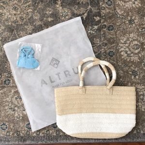 Altria Straw Tote with Blue Tassel